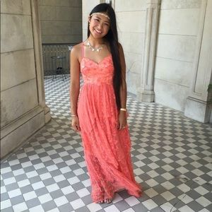 Free People Coral Lace Maxi Dress